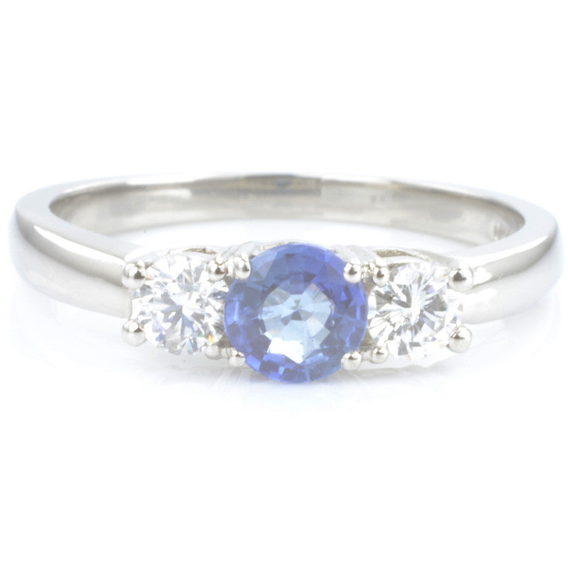 Palladium Sapphire and Diamond Trilogy Ring