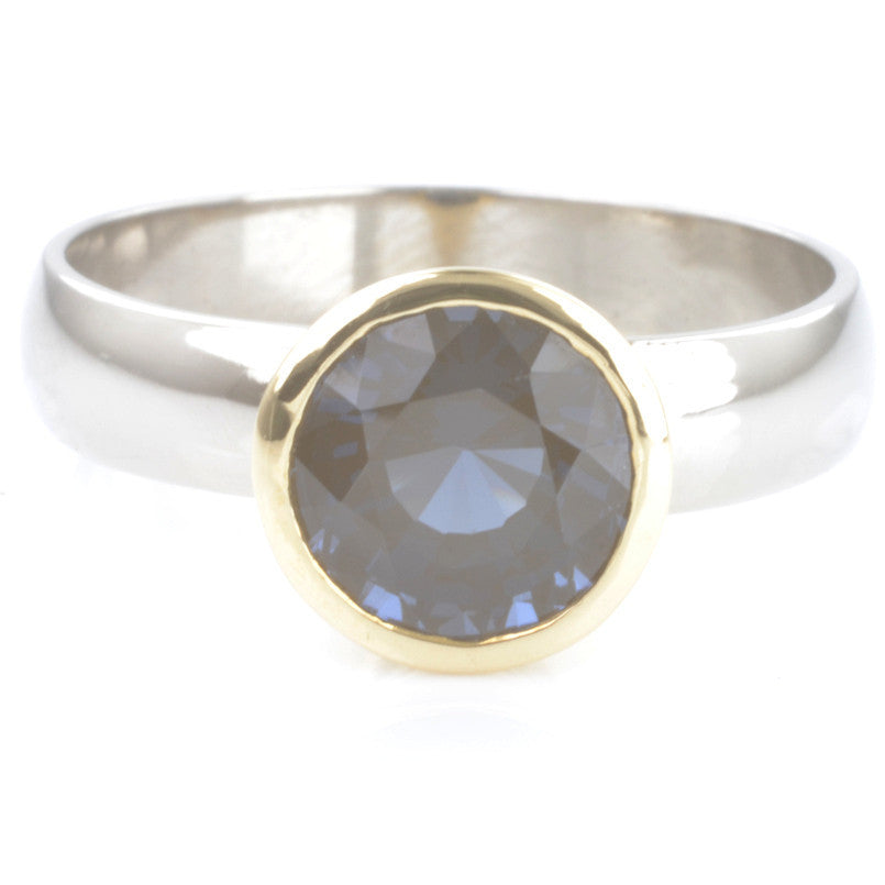 Palladium and 18ct Yellow Gold Blue Burmese Spinel Solitaire