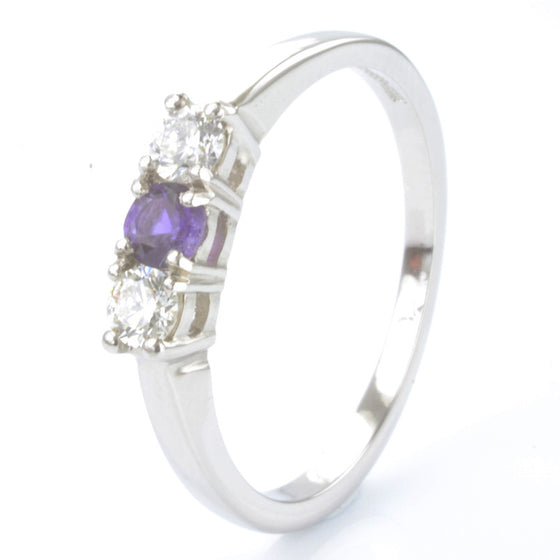 Palladium Amethyst and Diamond Trilogy Ring