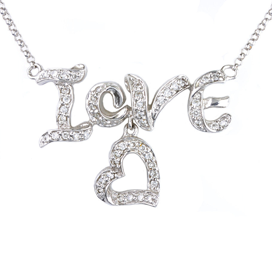 "18ct White Gold Pave Set Diamond ""Love"" Pendant"