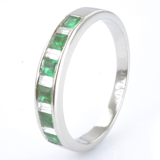 Platinum Emerald and Diamond Half Eternity Ring