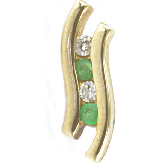 9ct Yellow Gold Emerald Ear Studs