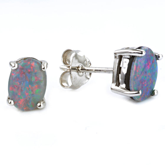 9ct White Gold Opalique Ear Studs