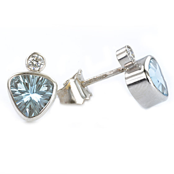 18ct White Gold Aquamarine and Diamond Ear Studs