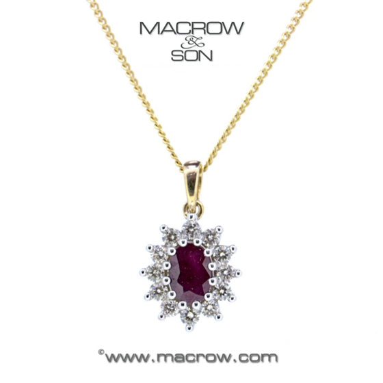 9ct Gold Ruby & Diamond Cluster Pendant