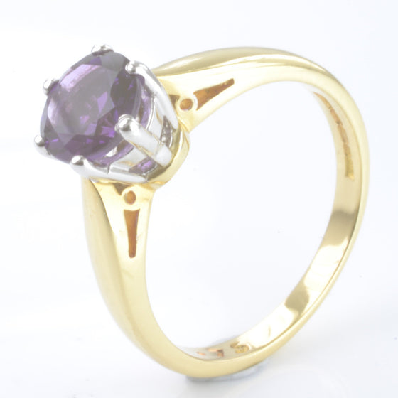 18ct Yellow Gold Amethyst Solitaire
