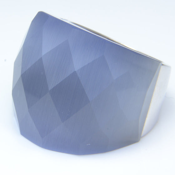 So Jewellery Silver and Blue Faceted Stone Dress Ring