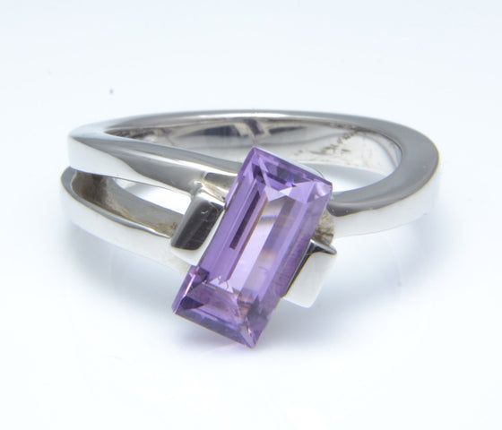 So Jewellery Silver and Amethyst Dress Ring
