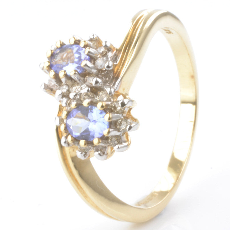 9ct Yellow Gold Tanzanite and Diamond Cluster Ring