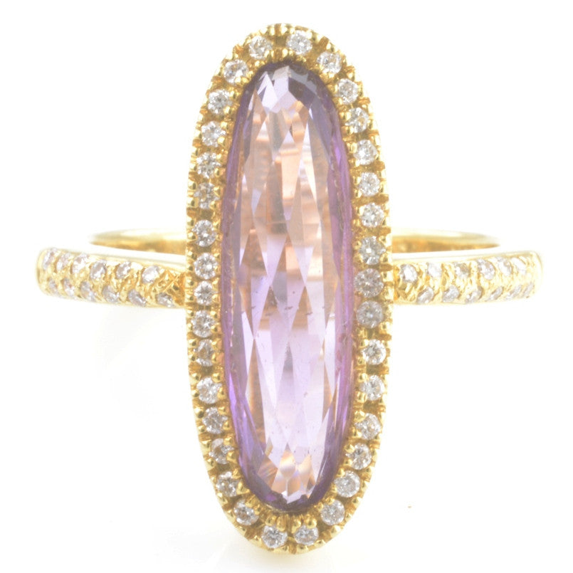 18ct Yellow Gold Amethyst and Diamond Dress Ring