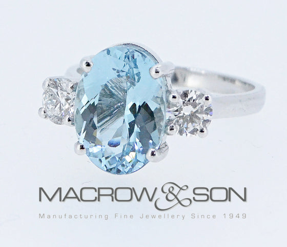 Handmade 18ct White Gold, Aquamarine and Diamond ring