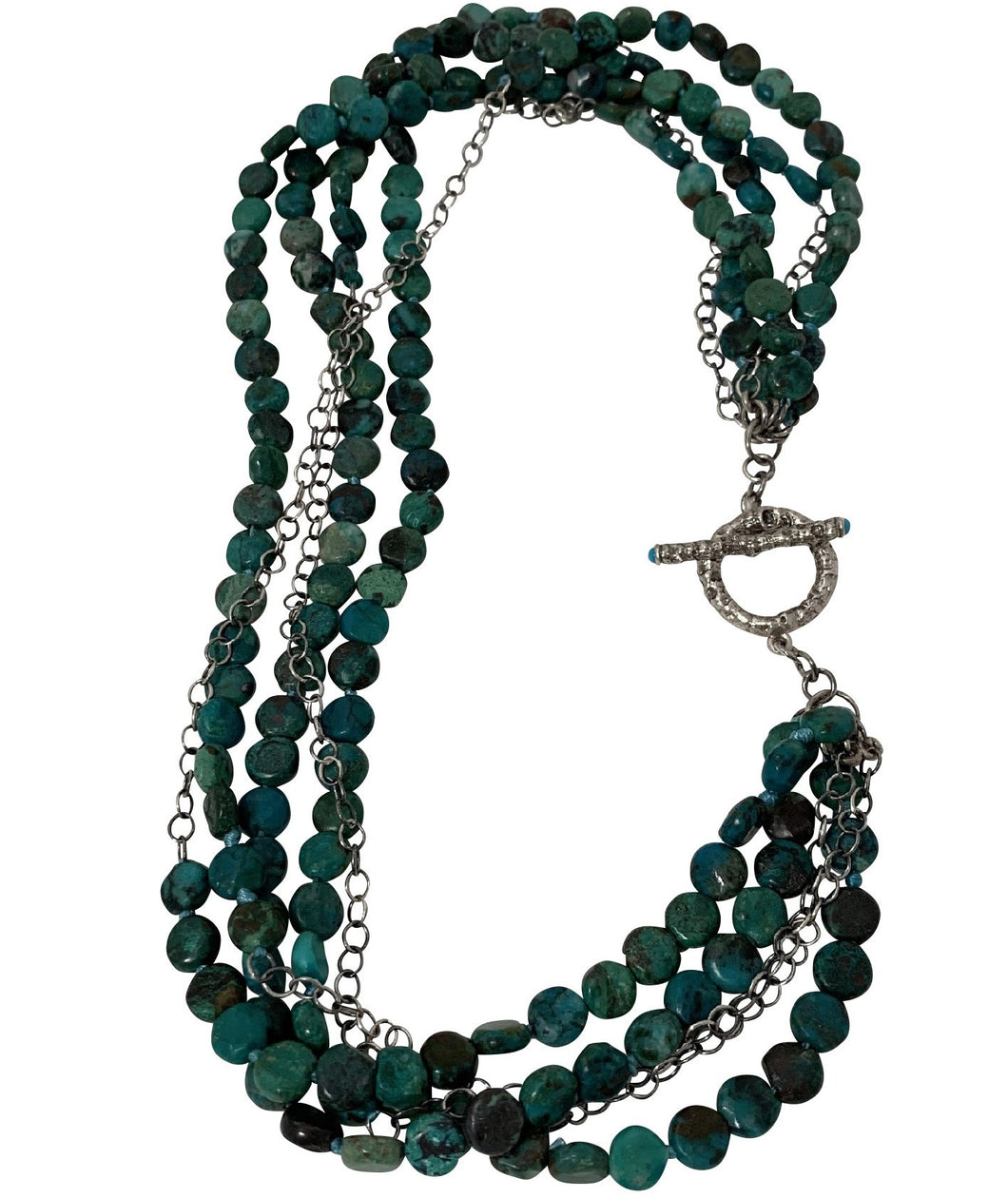 Chrysocolla silver ladies necklace
