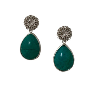 Chrysocolla silver statement earrings