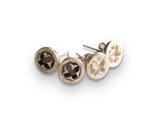 Load image into Gallery viewer, Eucalyptus silver stud earrings