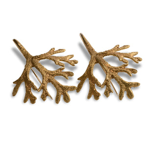 Flannel leaf brass earrings