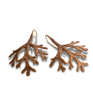 Flannel leaf bronze earrings