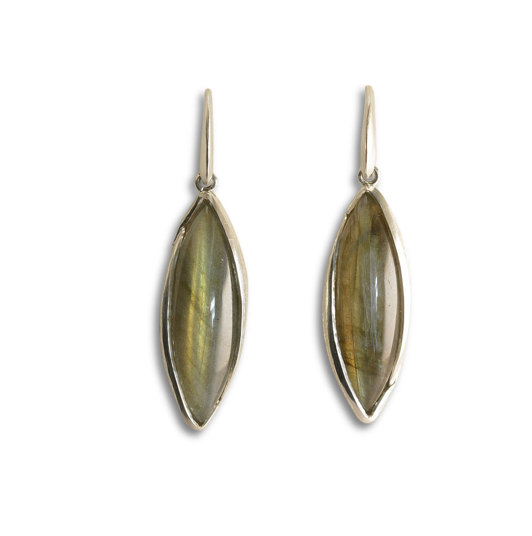Melaleuca and labradorite silver earrings