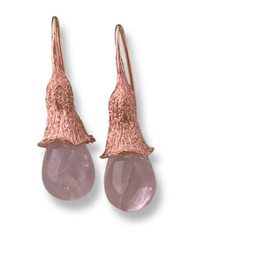 Mallee silver and rose quartz earrings