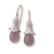 Load image into Gallery viewer, Mallee rose quartz drop earrings
