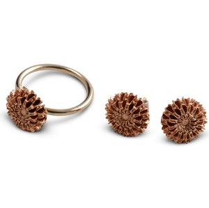Samara rose gold ring and earring set