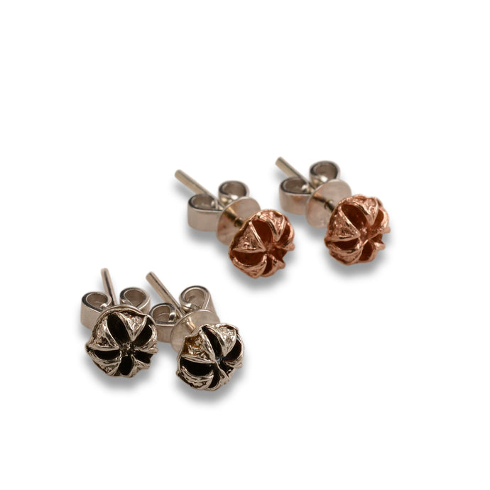 Tea tree silver stud earrings