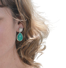 Load image into Gallery viewer, Chrysocolla silver statement earrings