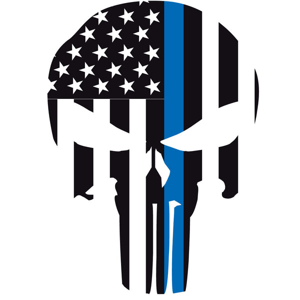 THIN BLUE LINE PUNISHER SKULL WINDOW DECAL