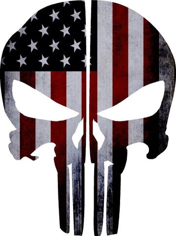 AMERICAN FLAG PUNISHER SKULL REAR HELMET REFLECTIVE HELMET DECAL