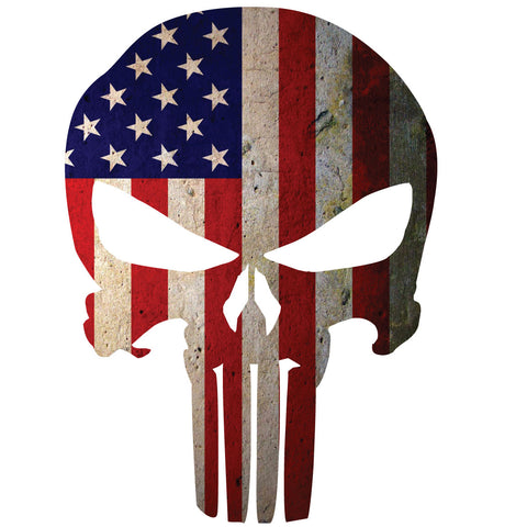 AMERICAN FLAG PUNISHER SKULL WINDOW DECAL