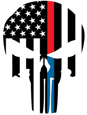 THIN RED/BLUE LINE FLAG PUNISHER SKULL REAR WINDOW REFLECTIVE HELMET DECAL