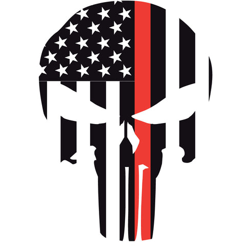 "THIN RED LINE PUNISHER SKULL 2"" HELMET DECAL"