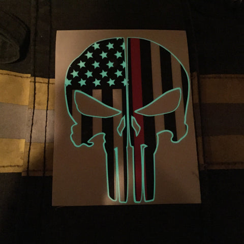 THIN RED LINE FLAG PUNISHER SKULL REAR HELMET REFLECTIVE/GLOW IN THE DARK STARS & STRIPES/OUTLINE  HELMET DECAL