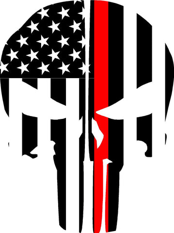THIN RED LINE FLAG PUNISHER SKULL REAR HELMET REFLECTIVE HELMET DECAL