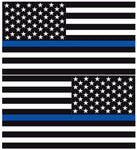 THIN BLUE LINE AMERICAN FLAGS REFLECTIVE HELMET DECAL
