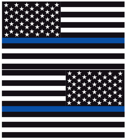 THIN BLUE LINE AMERICAN FLAGS REFLECTIVE WINDOW DECAL