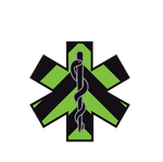BLACK & GREEN CHEVRON STAR OF LIFE REFLECTIVE HELMET DECAL