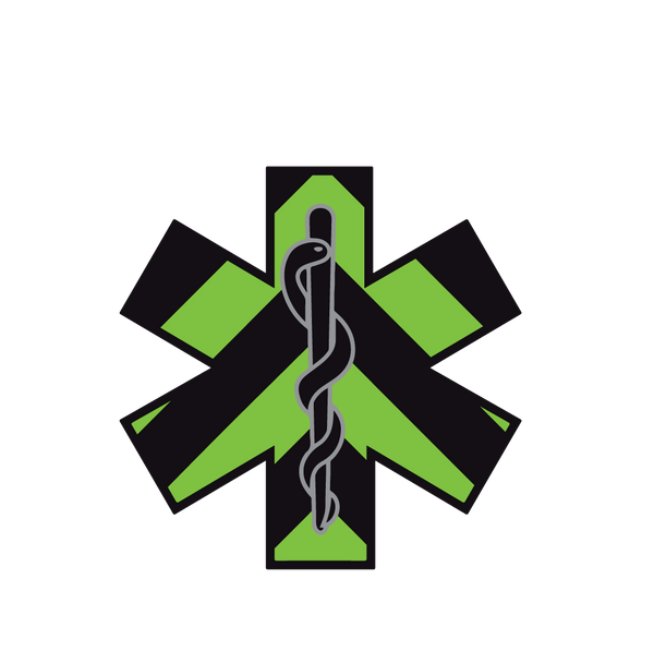 BLACK & GREEN CHEVRON STAR OF LIFE REFLECTIVE WINDOW DECAL