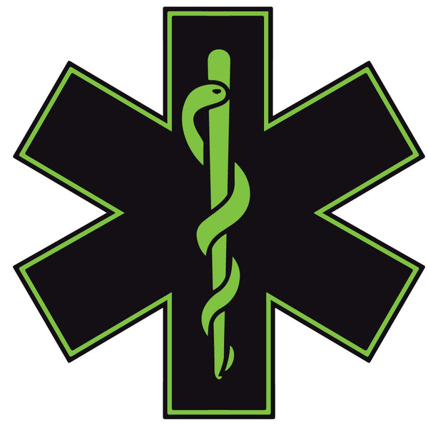 BLACK & GREEN STAR OF LIFE REFLECTIVE HELMET DECAL