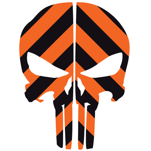 PUNISHER SKULL BLACK & ORANGE CHEVRON REAR HELMET REFLECTIVE HELMET DECAL