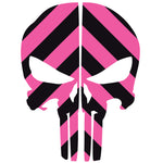 PUNISHER SKULL BLACK & PINK CHEVRON REAR HELMET REFLECTIVE HELMET DECAL