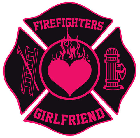 FIREFIGHTERS GIRLFRIEND MALTESE CROSS WINDOW DECAL