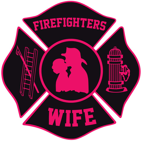 FIREFIGHTERS WIFE MALTESE CROSS WINDOW DECAL