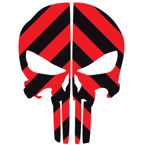 PUNISHER SKULL BLACK & RED CHEVRON REAR HELMET REFLECTIVE HELMET DECAL