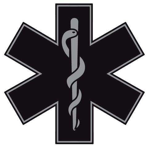 BLACK STAR OF LIFE REFLECTIVE HELMET DECAL