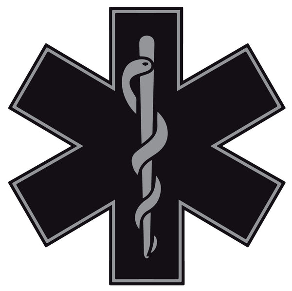 BLACK STAR OF LIFE REFLECTIVE WINDOW DECAL