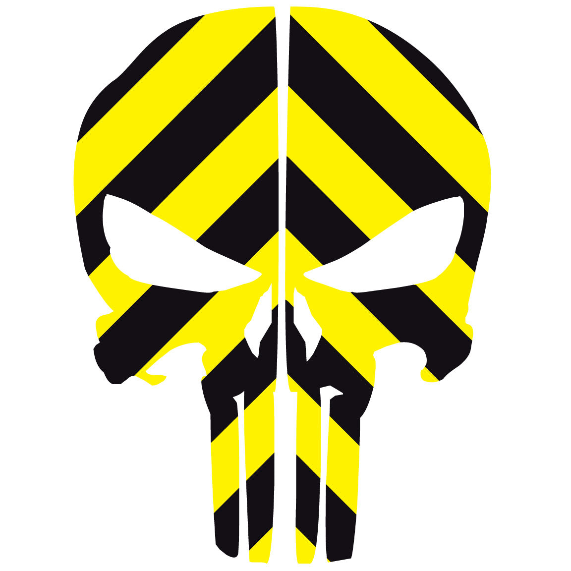 Punisher Skull Black Amp Yellow Chevron Reflective Rear