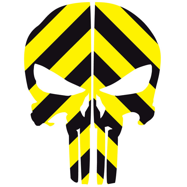 PUNISHER SKULL BLACK & YELLOW CHEVRON REAR HELMET REFLECTIVE HELMET DECAL