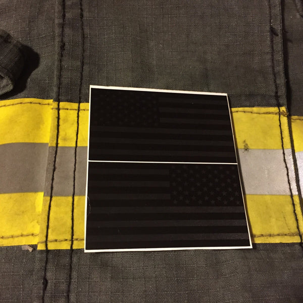 BLACKED OUT AMERICAN FLAGS REFLECTIVE HELMET DECAL