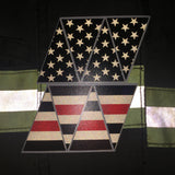 BLACKED OUT AMERICAN FLAG THIN RED LINE REFLECTIVE HELMET CREST