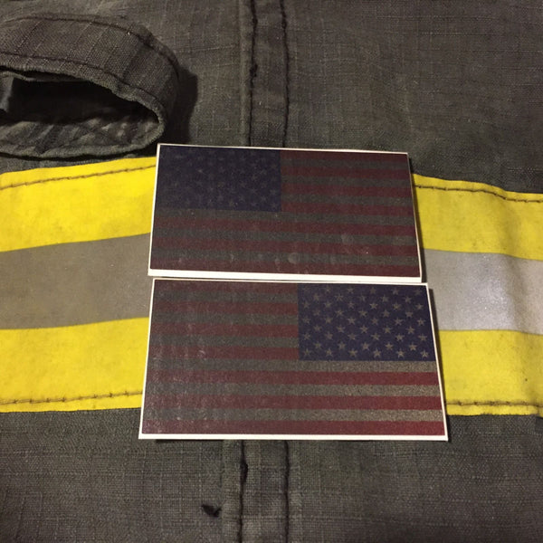 AMERICAN FLAGS SUBDUED RED WHITE BLUE REFLECTIVE HELMET DECAL